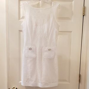 D&G white cotton slip dress with lace overlay